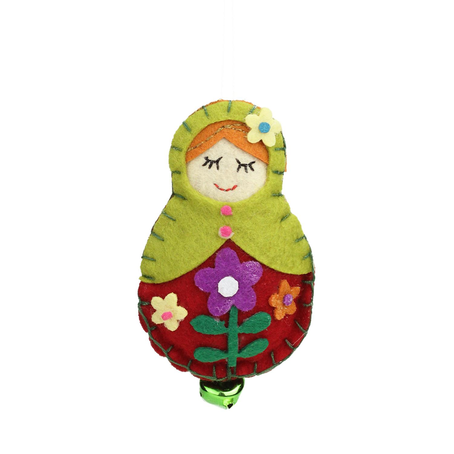"""Ganz 4"""" Plush Felt Doll with Jingle Bell Christmas Ornament - Red/Green"""