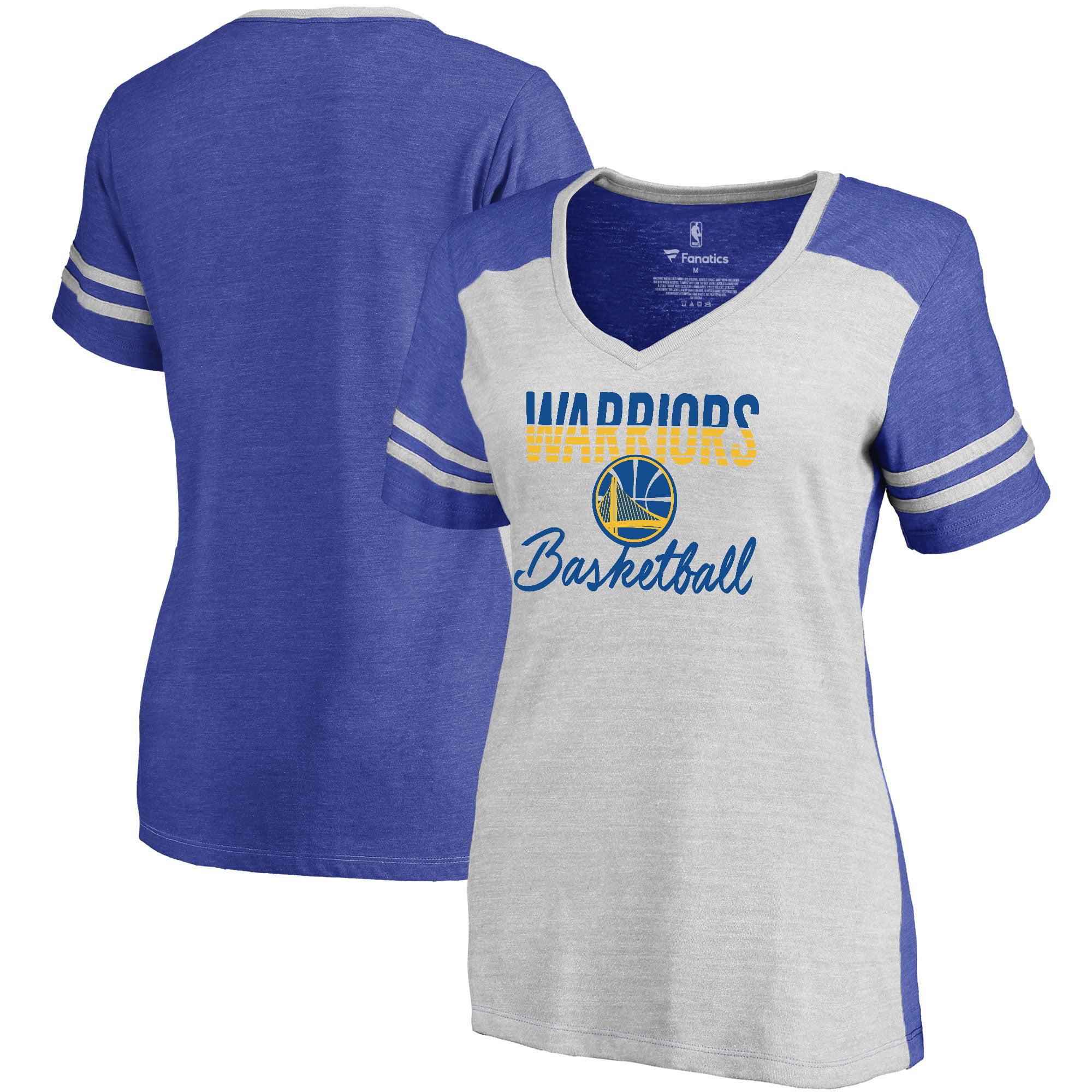 Golden State Warriors Fanatics Branded Women's Freeline Colorblock V-Neck T-Shirt - White/Royal