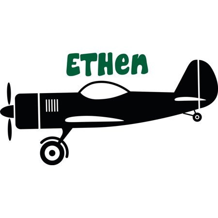 Personalized Name Vinyl Decal Sticker Custom Initial Wall Art Personalization Decor Sticker Airplane Boy Kid Bedroom Nursery Room 10 Inches X 28 Inches