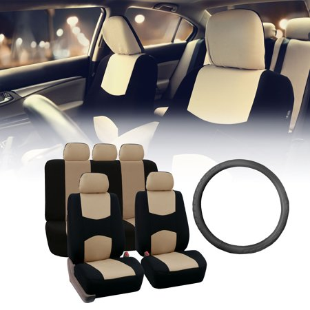 FH Group Flat Cloth Seat Covers for Auto, Split Bench Full Set with Leather Steering Wheel Cover, Beige Black ()
