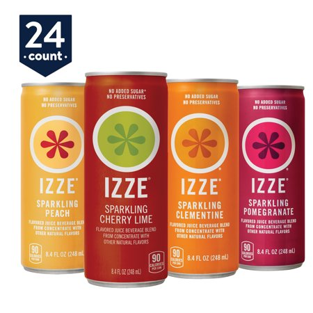 IZZE Sparkling Juice, 4 Flavor Variety Pack, 8.4 oz Cans, 24