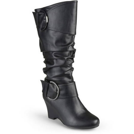 Leather Buckle Boot - Brinley Co. Womens Buckle Tall Faux Leather Boots