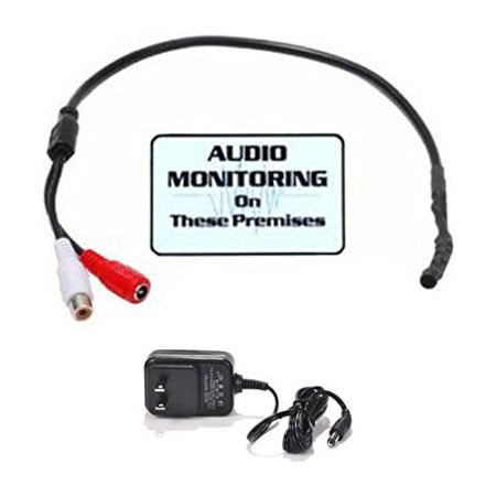 VideoSecu High Sensitive Tiny Spy Preamp Audio Recording Pre-amp Microphone for CCTV Surveillance with Power Supply CJM