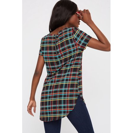 Urban Planet Women's Plaid Crepe High-Low Short Sleeve Blouse - image 1 of 2