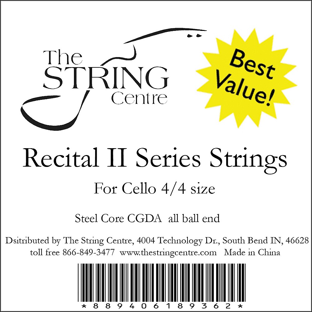 The String Centre Recital II Cello String Set 3 4 Size set by The String Centre