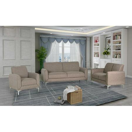Best Master Furniture Damian Wheat Fabric Sofa 3 Pcs Set Best Fabrics Sofas