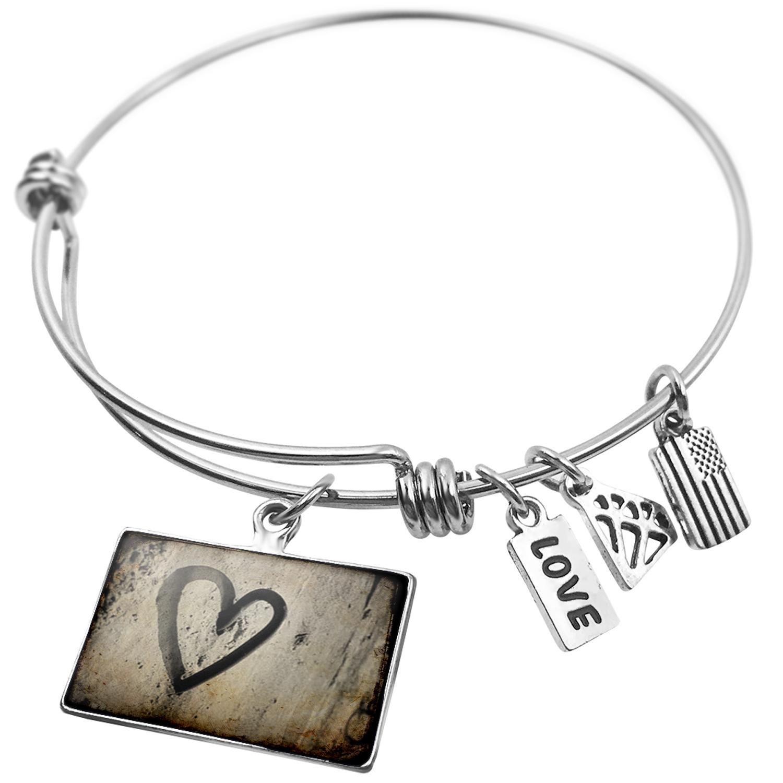 Expandable Wire Bangle Bracelet Love, love, heart - NEONBLOND