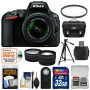 Nikon D5500 Wi-Fi Digital SLR Camera & 18-55mm VR DX Lens (Black) - Factory Refurbished with 32GB Card + Case + Tripod + Filter + Tele/Wide Lens Kit