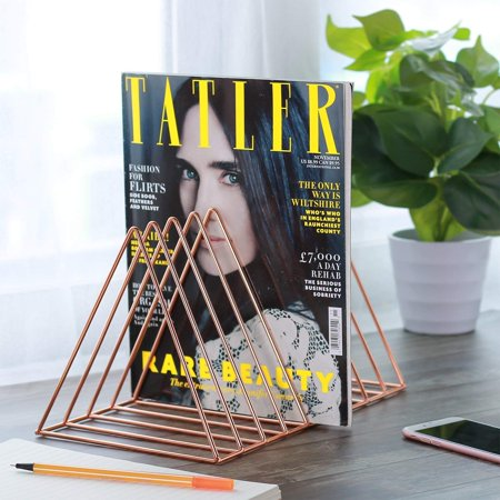 Metal Triangle Iron Wire Home Office Mail Magazine Newspaper Book Rack Bookshelf ()
