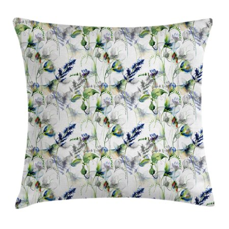 Flower Throw Pillow Cushion Cover, Floral Pattern with Sweet Pea Blossoms in Watercolor Paint Effect Spring Theme, Decorative Square Accent Pillow Case, 16 X 16 Inches, Green White Blue, by Ambesonne (Sweet Sixteen Themes List)