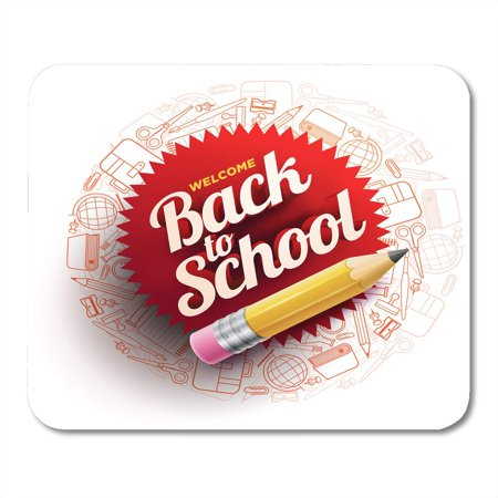 SIDONKU Red Book Design for Back to School Supplies Sharp Wooden Pencil and 3D Welcome Text White Education Mousepad Mouse Pad Mouse Mat 9x10 inch