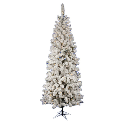 Vickerman Pacific Pine 7.5' White Artificial Pencil Christmas Tree with 270 LED Lights
