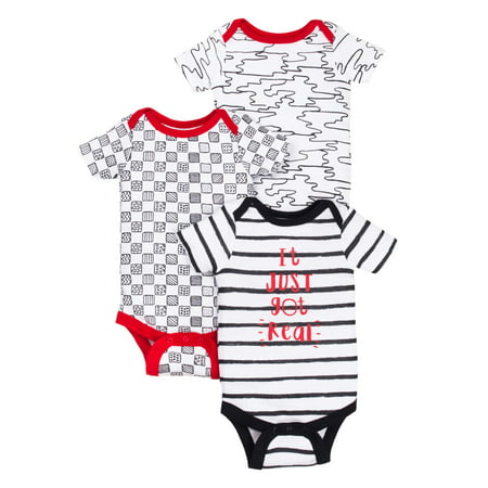 Newborn Baby Boy Assorted Short Sleeve Bodysuits, 3-pack