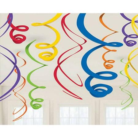 Rainbow Plastic Swirl Decorations  12Pk