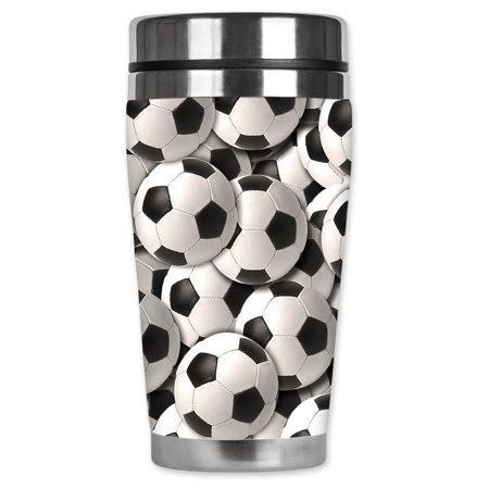 Mugzie brand 16-Ounce Stainless Steel Travel Mug with Insulated Wetsuit Cover - Soccer Balls