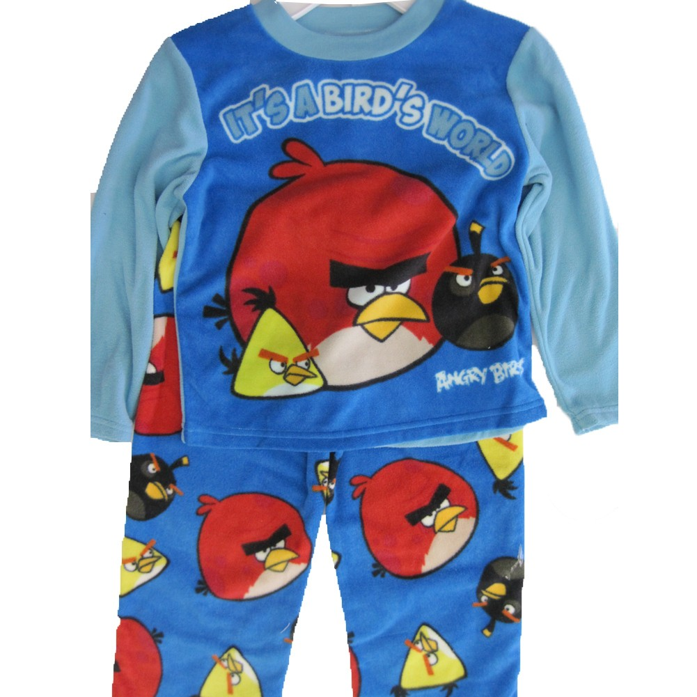 Angry Birds Boys Blue Cartoon Inspired 2 Pc Pajama Set 8-10