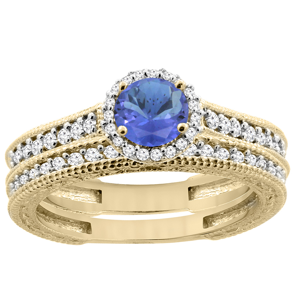 14K Yellow Gold Natural Tanzanite Round 5mm Engagement Ring 2-piece Set Diamond Accents, size 5.5 by Gabriella Gold