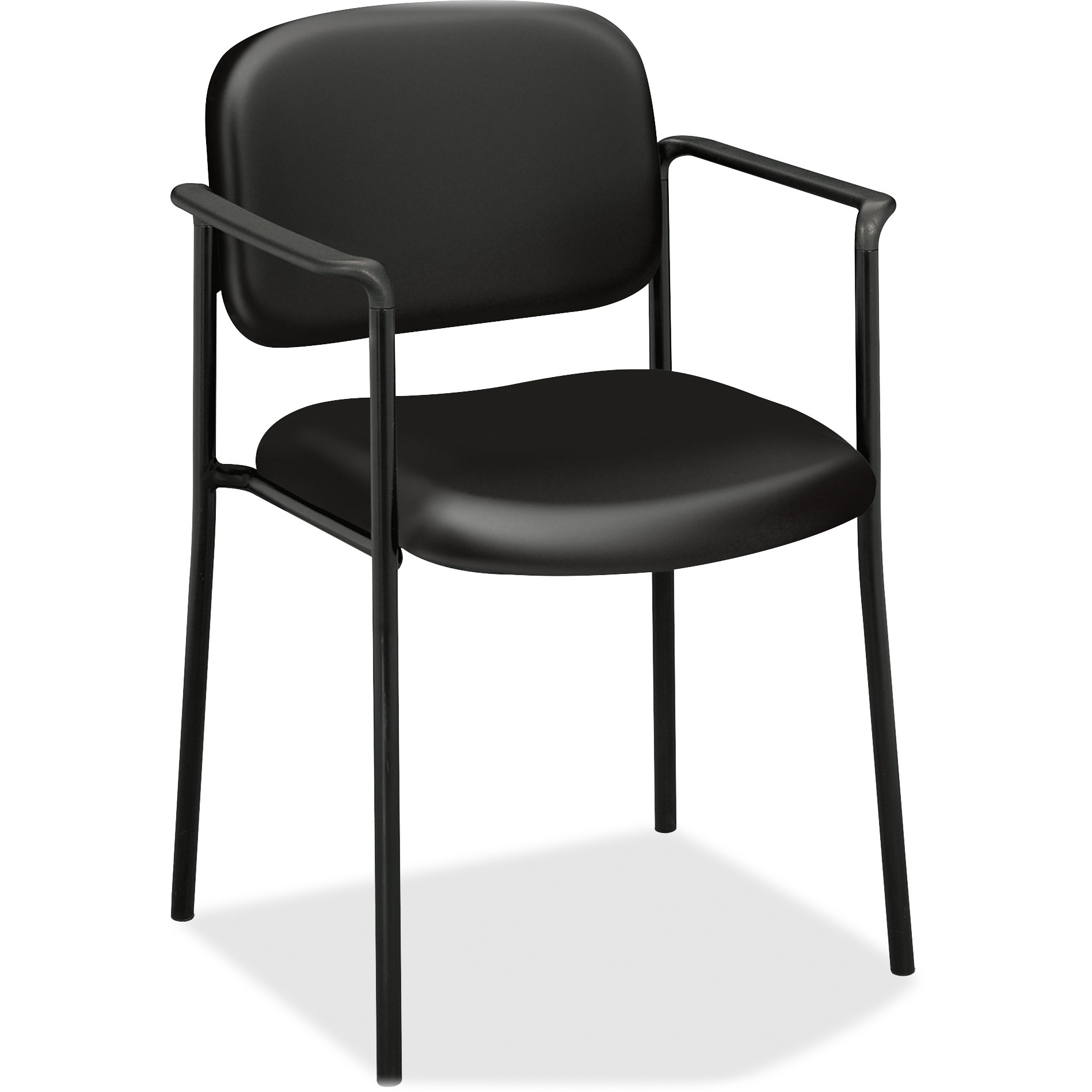 basyx VL616 Series Stacking Guest Reception Waiting Room Chair with Arms, Black Leather