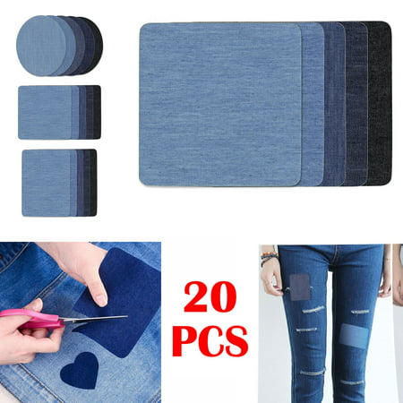 Iron on Patches 20/12 Pieces Jacket Jean Clothes Patches Kit by EEEkit, 4.9 x 3.7 Inch, Dark Assortment, 5/3 Colors 4 pieces per color, No sewing required