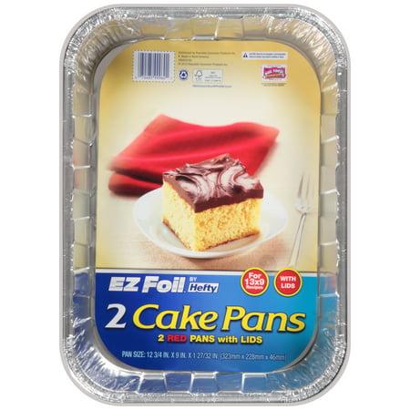 Hefty Ez Foil Red Cake Pans with Lids, 2 Piece