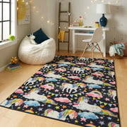 Mohawk Home Prismatic Unicorn Wish Multi Transitional Theme Kids Precision Printed Area Rug, Grey & Pink, Available in Multiple Sizes