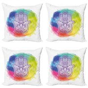 Hamsa Throw Pillow Cushion Case Pack of 4, Circle of Dreamy Vivid Colors and with Esoteric Charm Elements, Modern Accent Double-Sided Print, 4 Sizes, Multicolor, by Ambesonne