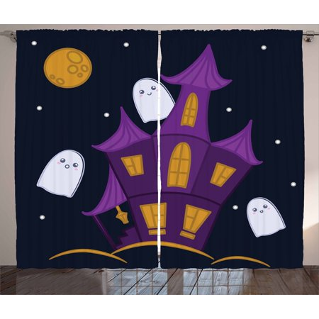 Interior Design For Halloween (Ghost Curtains 2 Panels Set, Dark Night Haunted House with Ghosts Halloween Design Illustration in Cartoon Style, Window Drapes for Living Room Bedroom, 108W X 63L Inches, Multicolor, by)
