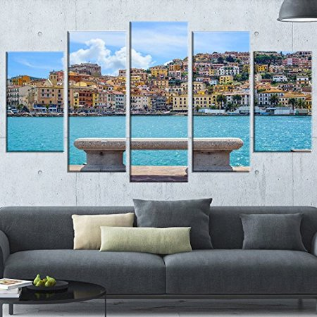 Designart PT11360-373 Seafront Bench in Port Santo Stefano-Extra Large Seashore Canvas Art (5 Piece) 60 inch  x 32