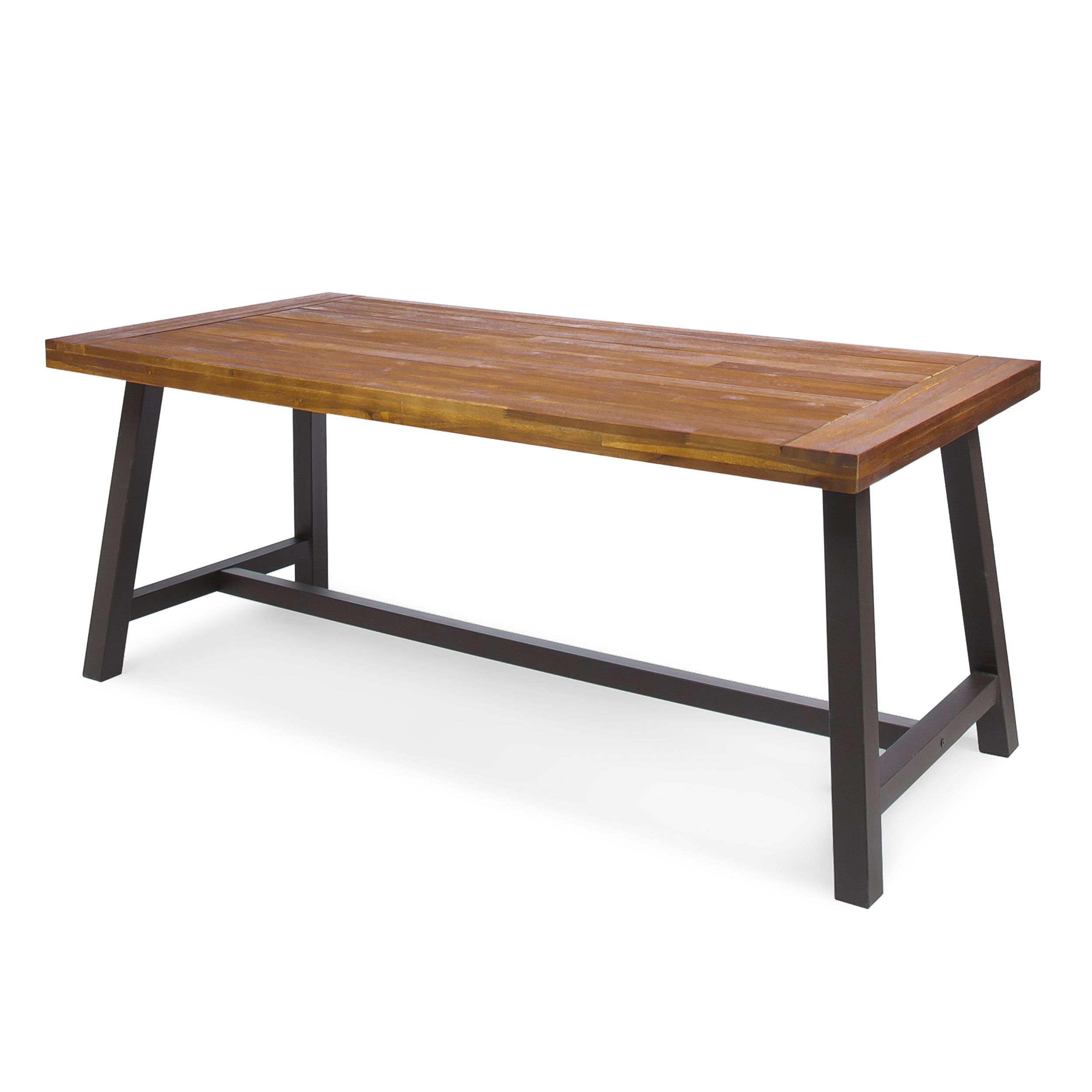 Carlie Outdoor Dining Table with Iron Legs, Sandblast Finish and Rustic Metal