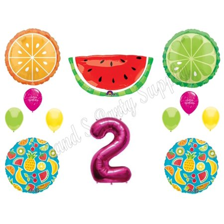 NEW! TWO-TI FRUITY 2nd Second Birthday Party Balloons Decoration Supplies Pineapple for $<!---->