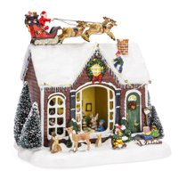 Best Choice Products Pre-Lit Musical Tabletop Christmas Village Decoration for Fireplace Mantle, Centerpiece w/ 9 Songs