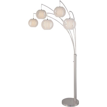 Lite Source LS-8872PS/WHT 5-Light Arch Lamp Polished Steel with White Shade from the Deion Collection ()
