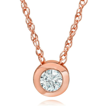 Round Diamond Solitaire Bezel Pendant (14K Rose Gold 1/4 ct Round Diamond Solitaire Bezel Pendant & 18