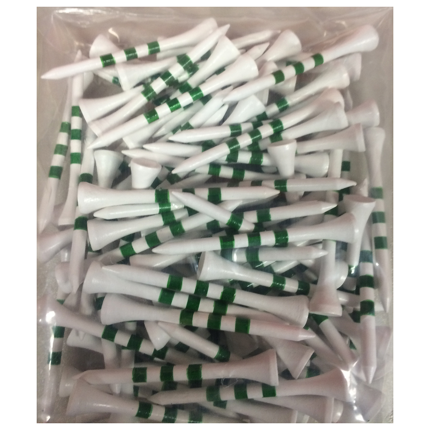 "2 3/4"" Wooden Golf Tees with Height Indication Stripes - Pack of 100"