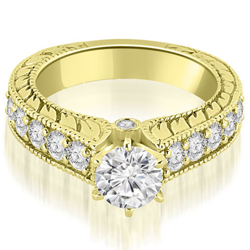 1.55 CT.TW Antique Cathedral Round Cut Diamond Engagement Ring in 14K White, Yellow Or Rose Gold