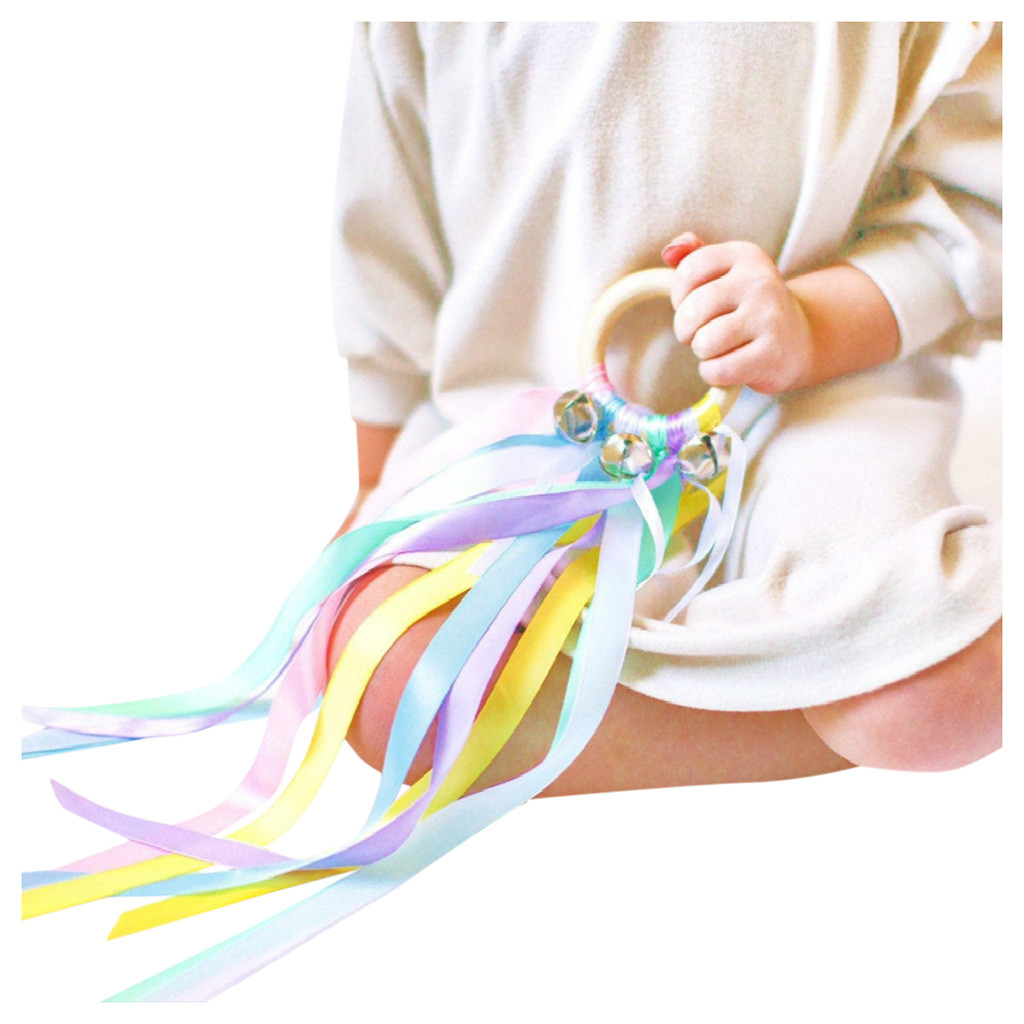 Ribbon Streamer with Wood Ring Baby Sensory Toys Rainbow Color Hand Ribbon Kite for Toddlers Learning Rainbow Hand Kite Ribbon Toys koea