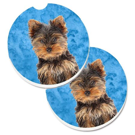 Blue Yorkie Puppy & Yorkshire Terrier Set of 2 Cup Holder Car -