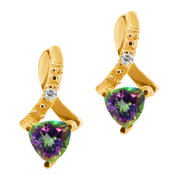 0.62 Ct Trillion Green Mystic Topaz and Topaz 14k Yellow Gold Earrings