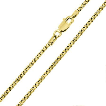 """Sterling Silver Italian Chain Necklace 1mm 14K Gold Plated Box Chain ( 16, 18, 20 Inch ) - 16"""""""