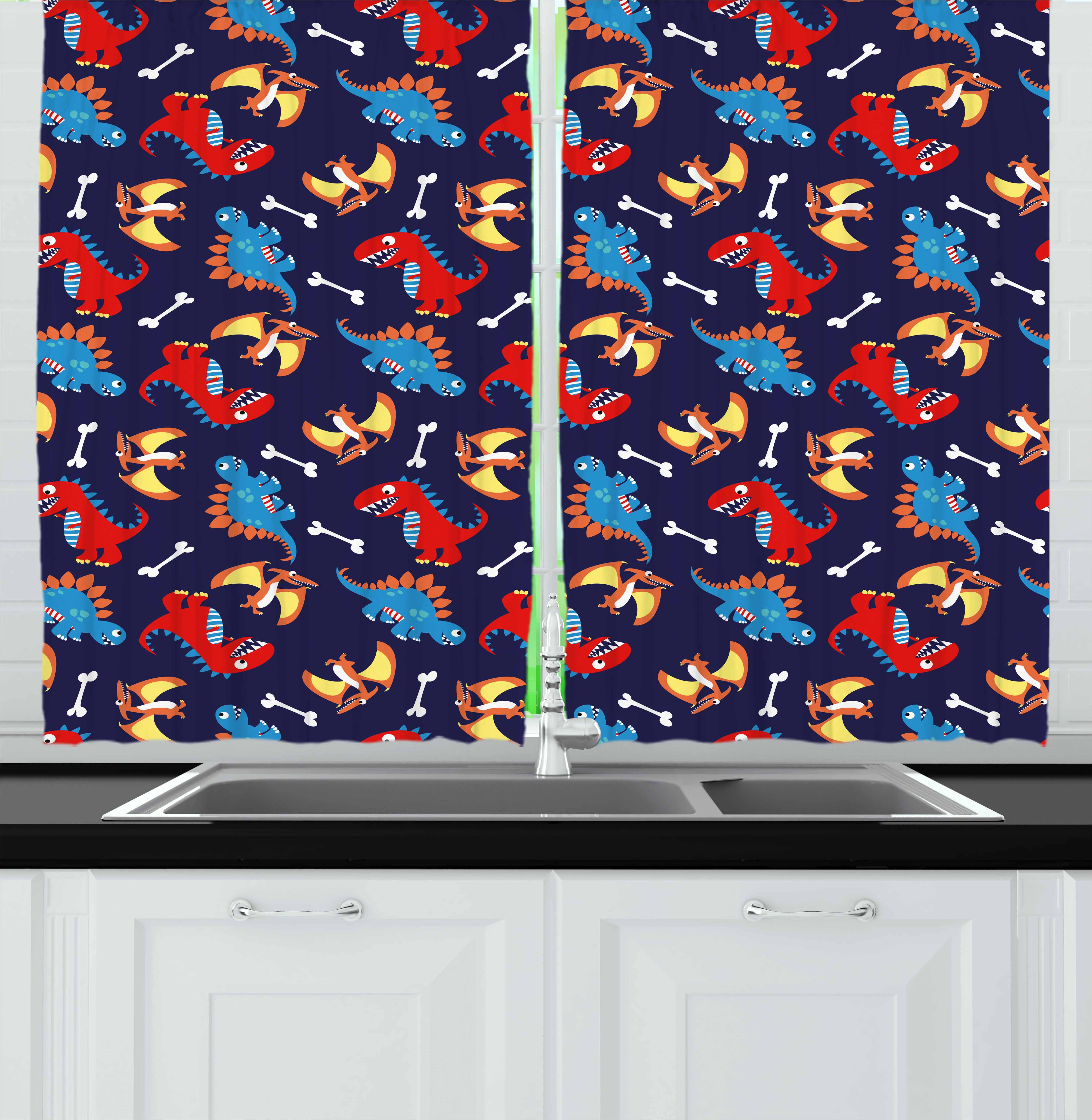 Dinosaur Curtains 2 Panels Set, Three Different Cartoon Dinosaurs Funny Expressions and Bones Kids Theme, Window Drapes for Living Room Bedroom, 55W X 39L Inches, Navy Blue Orange Red, by Ambesonne