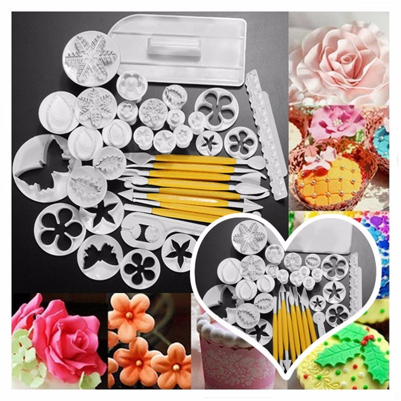 37Pcs 12 Set Cake Fondant Sugarcraft Plunger Decora Mold Cookie Cutters Mould by