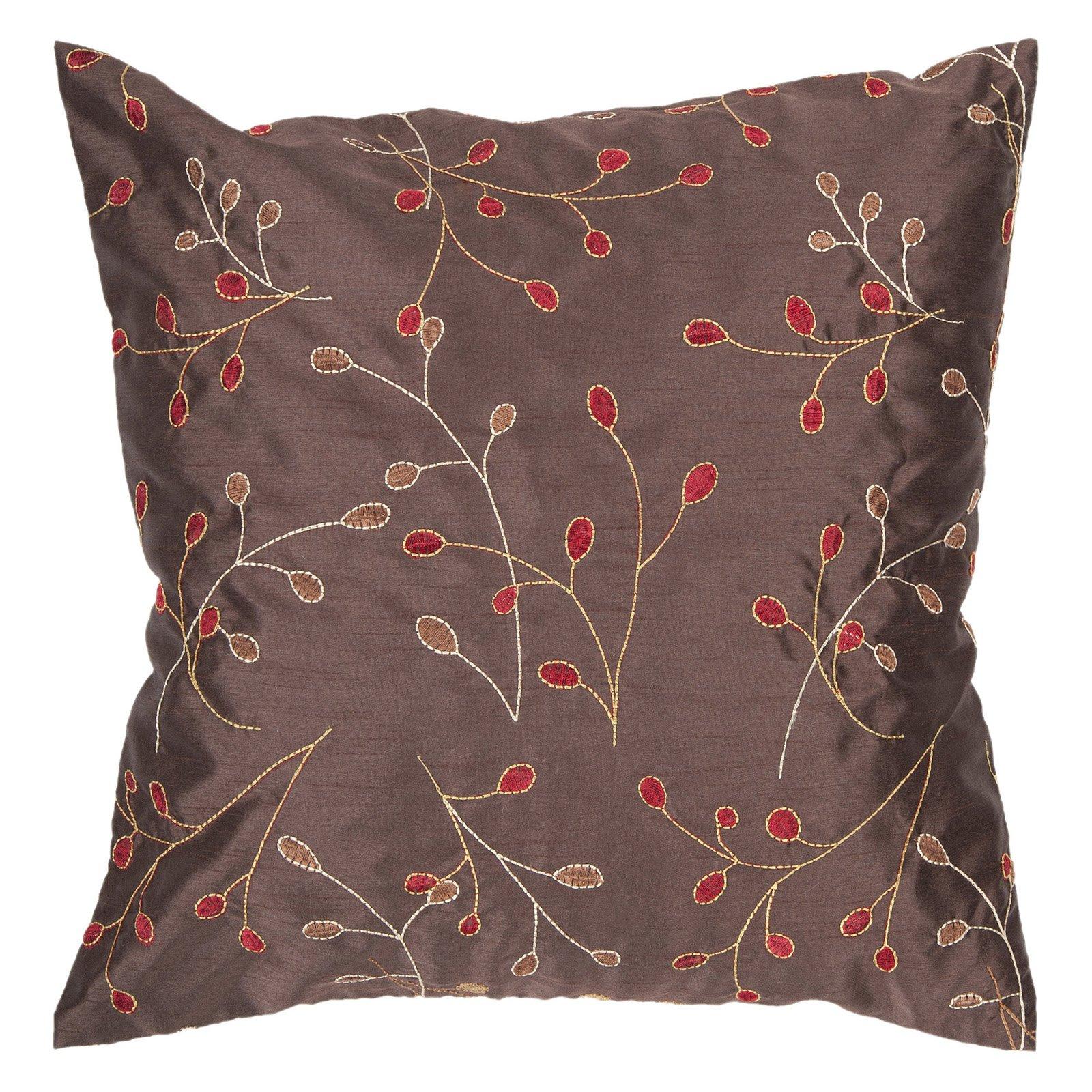 Surya China Vine Decorative Pillow - Chocolate
