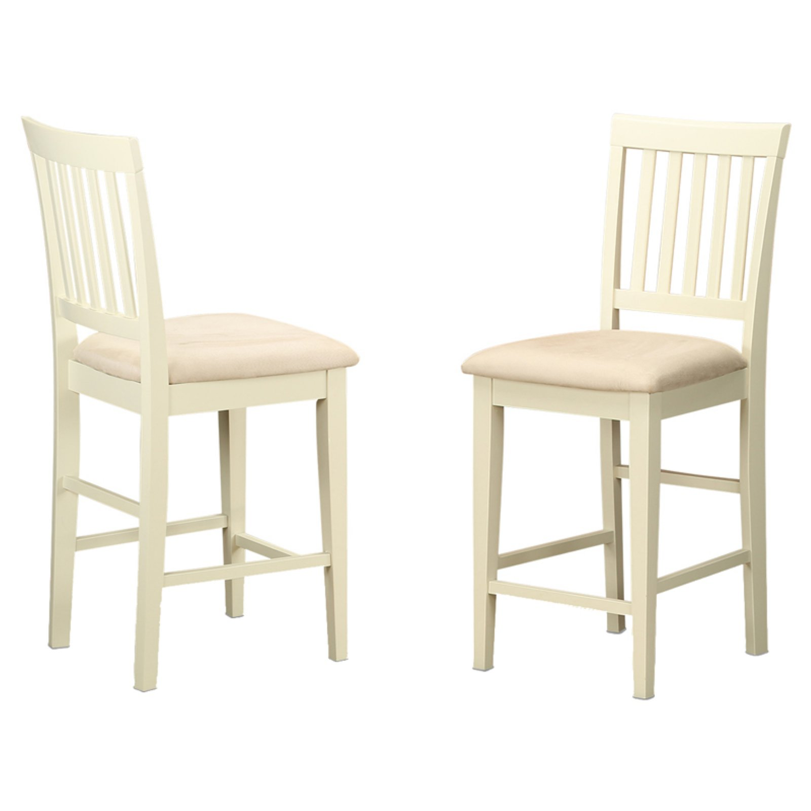 East West Furniture Vernon Counter Height Stool with Microfiber Seat - Set of 2