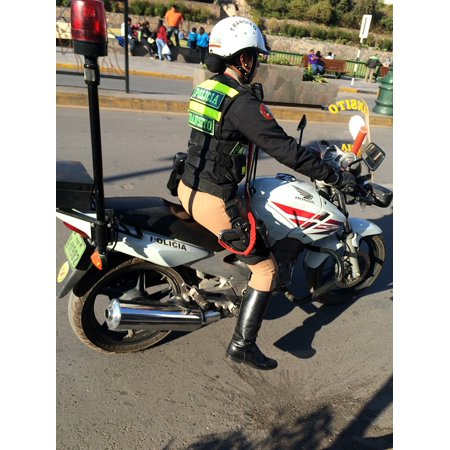 LAMINATED POSTER Moto Read Woman Lima Police In Service Bike Poster Print 24 x