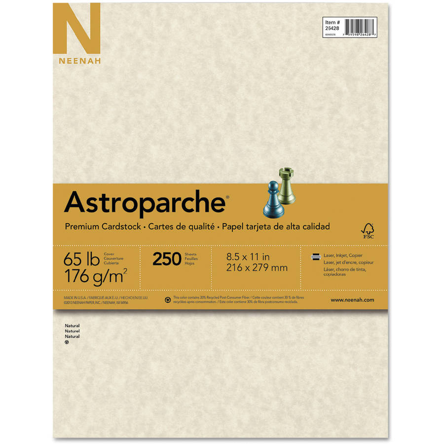 "Neenah Paper Astroparche Specialty Card Stock, 8.5"" x 11"", Natural, 250 Sheets"