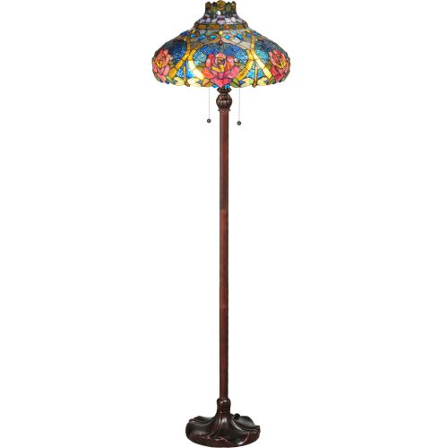 """Meyda Tiffany 138109 Dragonfly Rose 2 Light 60"""" Tall Hand-Crafted Floor Lamp with Stained Glass by Meyda Tiffany"""