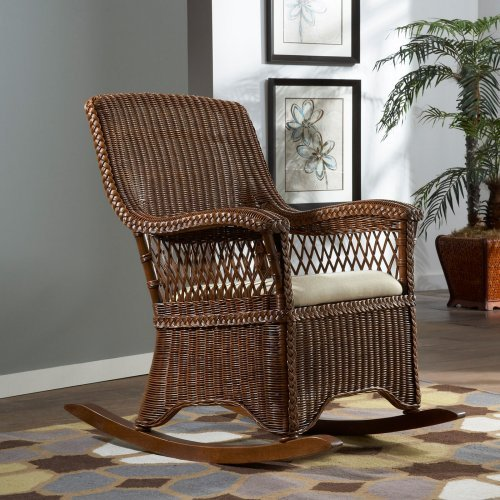 Hospitality Rattan Wicker Indoor Rocking Chair with Cushion - TC Antique