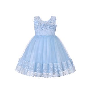 Kids Girls Embroided Pearls Decorated Fancy Dress - Fancy Dresses For Girls