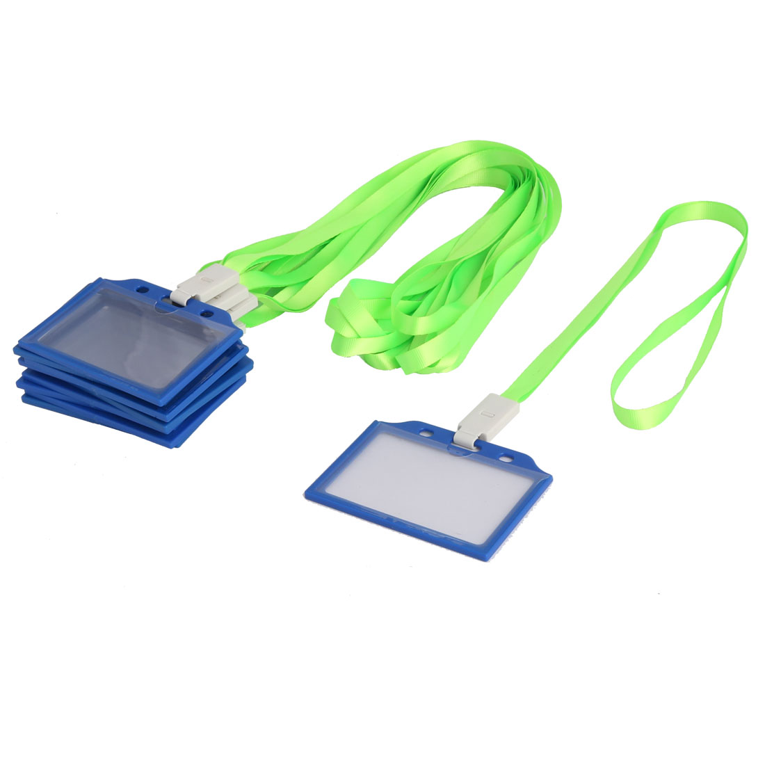 Office Plastic Horizontal Name Tag Bussiness ID Card Holder Blue Yellow 10 Pcs