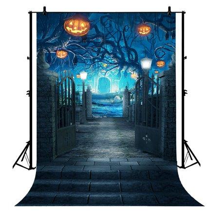 GCKG 7x5ft Halloween Horrible Stone Castle Terror Tree Pumpkin Lantern Polyester Photography Backdrop Photo Background Studio Props - image 4 de 4